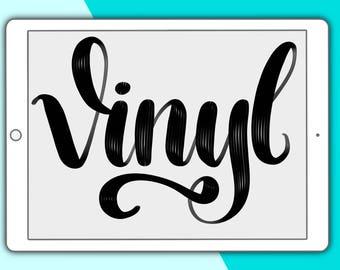 Vinyl lettering brush for Procreate