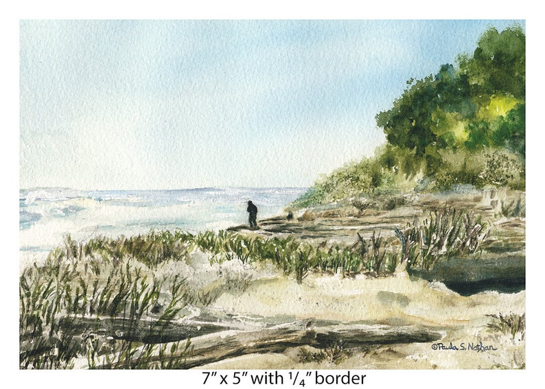 South Carolina Man Walking on Beach Beaufort Alone Watercolor Giclee art print