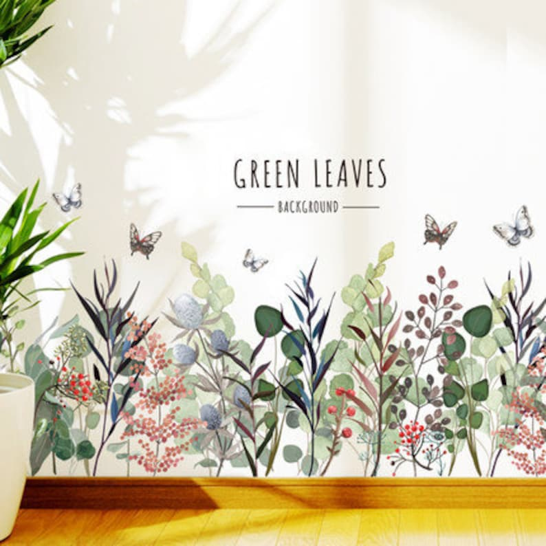 green leaves with florals wall Decals romantic flowers plants living room stickers quotes home decor art Removable nature girls room