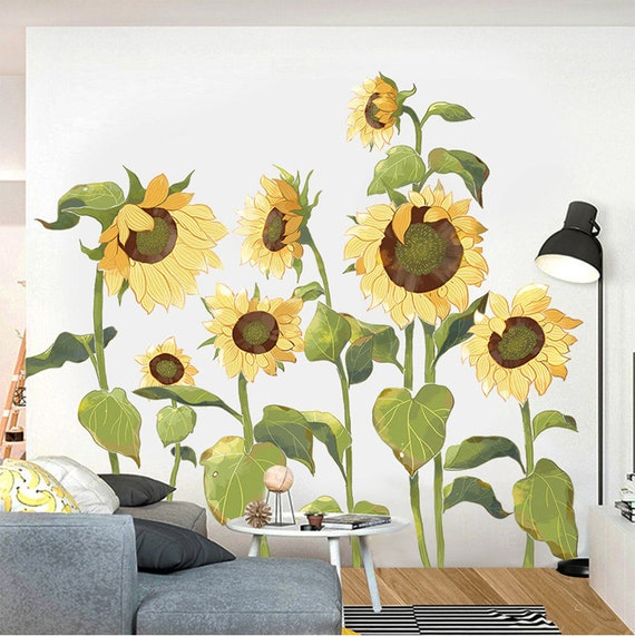 Amazing Large Yellow Sunflowers Wall Stickers Living Room Sofa Etsy