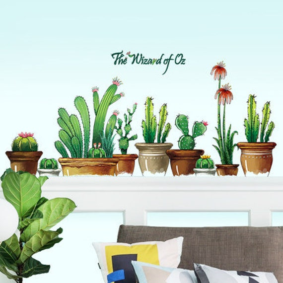 Tropical Cactus Potted Plants Removable Wall Art Sticker Decal Kid Nursery Decor