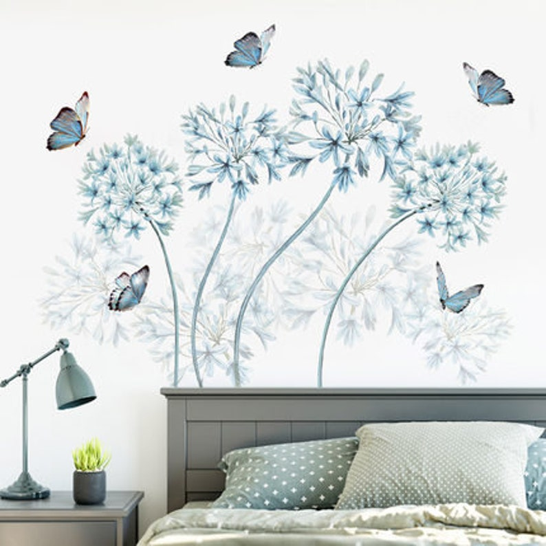 blue dandelion home decor plant Decal butterfly house wallpaper nursery Removable Vinyl Wall sticker living room girls