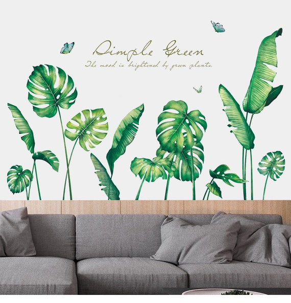 tropical green leaf quotes home decor for living room