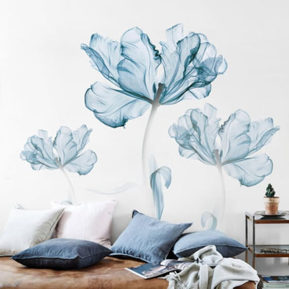 Elegant Blue Big Flower Wall Decals, Wall Decals For Living Room