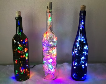 Christmas Light Wine Bottle
