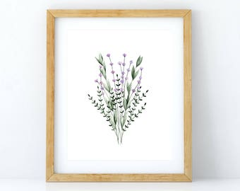 Print of an illustration of a bunch of lavender / botanical watercolor painting / minimalist design / wall art