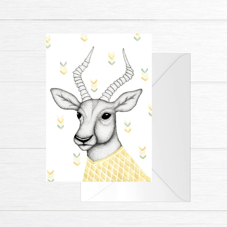Greeting card with illustration of an antelope / geometric image 0