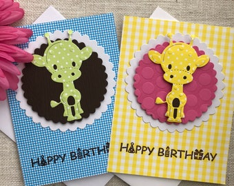 Cute Happy Birthday Giraffe Card- In Yellow and Blue