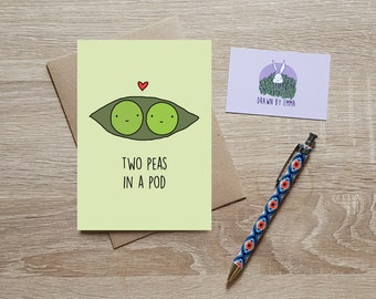 Two Peas In A Pod - Valentine's Day Card - Anniversary Card - Wedding Card - Love Card - Greetings Card - Blank