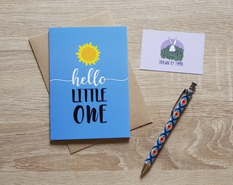 Hello Little One - New Baby Card - New Arrival - Greetings Card - Blank