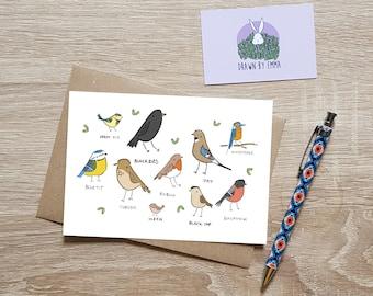 Garden Birds - Greetings Card - Bird Lovers - Gardeners - Birthday Card - Bird Birthday Card - Birthday Card Garden - Blank