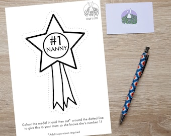 Number One Nanny - Colouring In - Colouring In Page - Mother's Day Gift - Mother's Day Card - Medal - Cut Out - Children's Activity