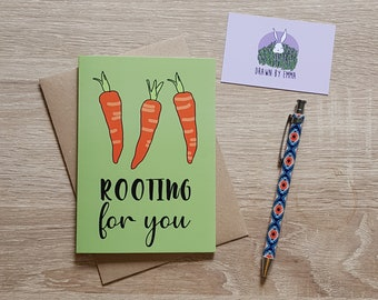 Rooting For You - Good Luck Card - Greetings Card - Blank