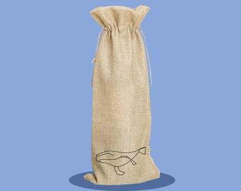 Whale - Happy Birthday - Bottle Bag - Wine Bag - Reusable Wine Bag - Birthday Present - Gift Bag - Custom Wine Bag - Personalised