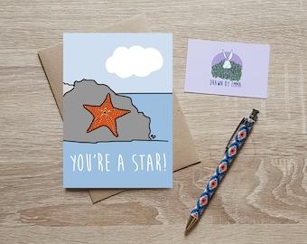You're A Star - Congratulations Card - Well Done Card - Exam Card - Graduation Card - Nautical Card - Greetings Card - Blank
