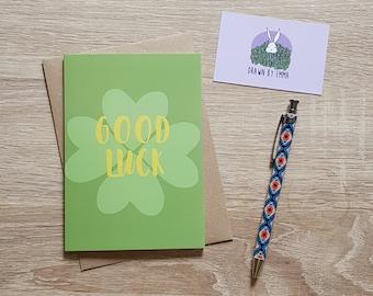 Good Luck - Four Leaf Clover - Good Luck Card - Greetings Card - Blank