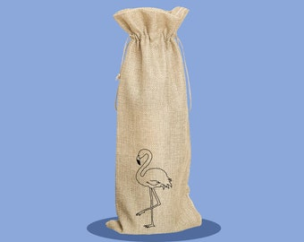 Flamingo - Happy Birthday - Bottle Bag - Wine Bag - Reusable Wine Bag - Birthday Present - Gift Bag - Custom Wine Bag - Personalised