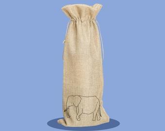 Elephant - Happy Birthday - Bottle Bag - Wine Bag - Reusable Wine Bag - Birthday Present - Gift Bag - Custom Wine Bag - Personalised