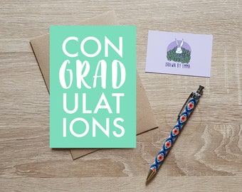 Congradulations - Congratulations Card - Graduation Card - Typography Card - Greetings Card - Blank