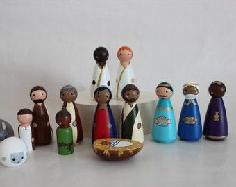 Diverse Peg Doll Nativity Set--brown people, women, inclusive nativity scene, kid friendly