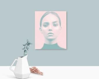 Pastel wall art, wall art fashion, female gifts, pastel pink, prints, free shipping, wall art, art prints