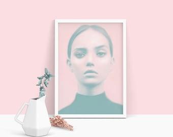 Pastel wall art, fashion print, female gifts, pastel pink, prints, free shipping, wall art, art prints