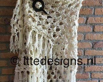 Shawl 'White Rose' by Scheepjes Merino soft - scarf - shawl - crocheted