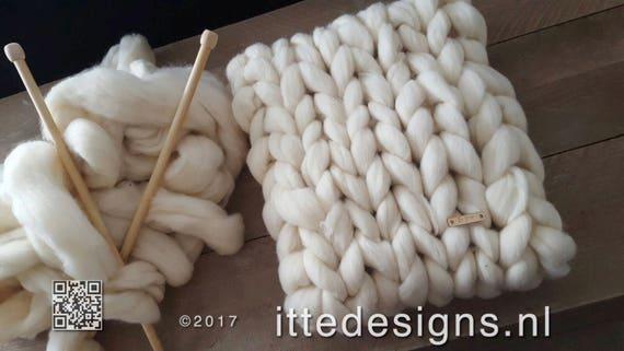 Colsjaal de 100% sin teñir lana Merino bufanda Chunky knit  e998c7bbac3