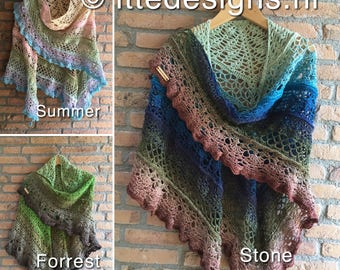 Shawl ' Summer ', ' Forrest ' or ' Stone ' crochet with Ships Whirl/scarf/shawl