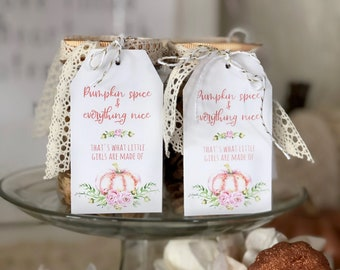 Little Pumpkin Baby Shower Thank you tags, favor tags, Floral pink and coral girl baby shower favor tags, lil pumpkin baby: INSTANT DOWNLOAD