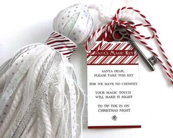 Santa's Magic Key Printable Poem Tag, No chimney no problem, Christmas traditions, Christmas key, Printable gift tag: INSTANT DOWNLOAD