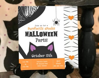 INSTANT DOWNLOAD: Black Cat Halloween Party Invitation, kids Halloween, Cute Halloween, Kitty Cat Party, Adopt a cat, Witch's best friend
