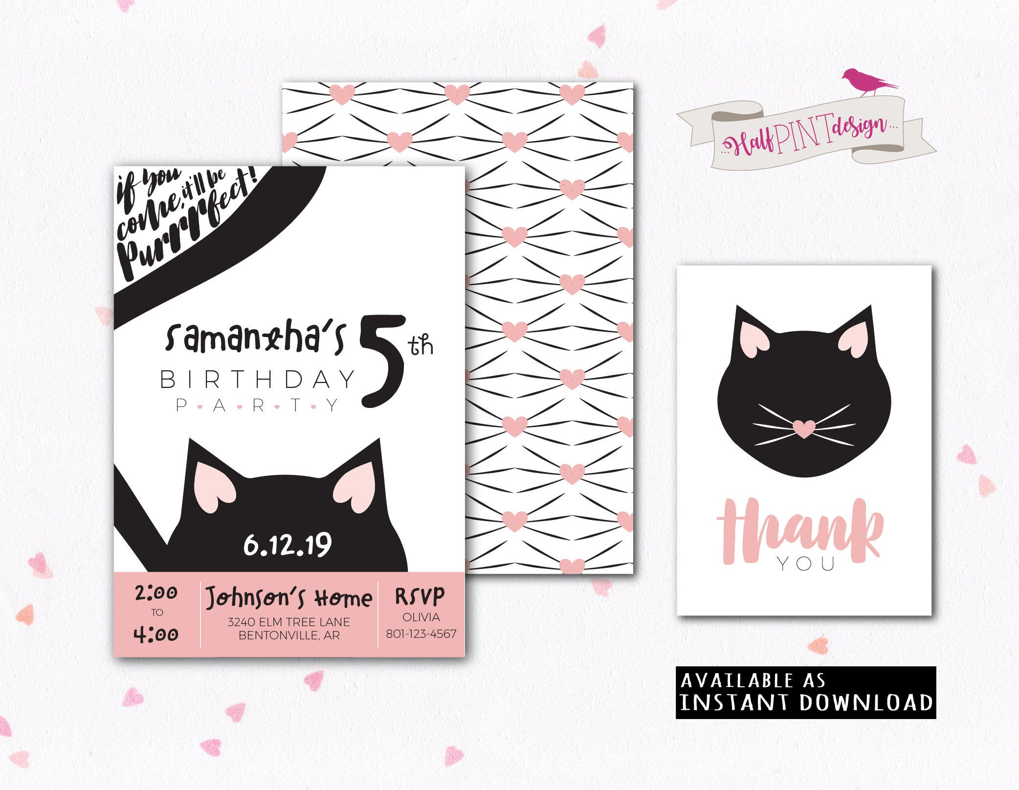 Kitty Cat Birthday Party Invitation Cats Kittens Kitties | Etsy
