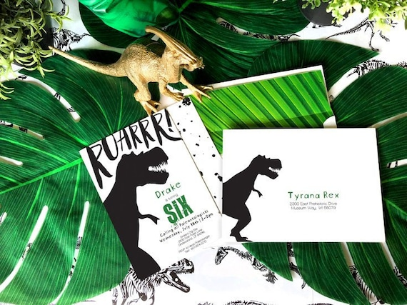 VALUE Suite Prehistoric Dinosaur Birthday Invitation T Rex Party Modern Dino Boy Invite INSTANT DOWNLOAD