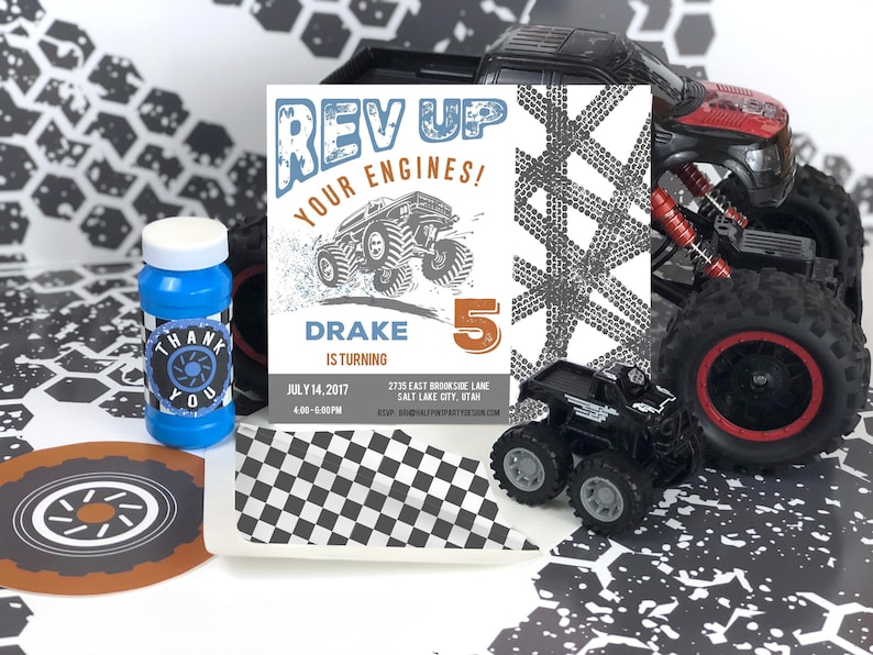 Monster Truck Birthday Party Invitation, Truck party, Boy Birthday theme,  Monster Truck Rally Party, Tire Tracks, Truck Invite, Racing Party
