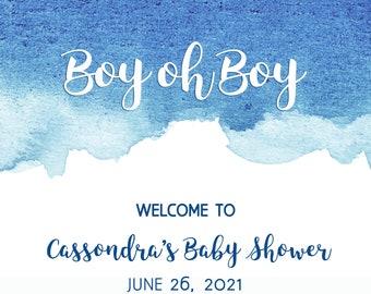 16x20 Watercolor Baby Shower Welcome Sign, Medium Baby Shower Sign, Shibori Tie Dye, Blue Ombre, Boy oh boy Baby Boy Shower