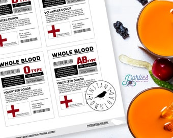 Blood Bag Labels for Halloween Drinks, Vampires, Bloody Mary Bags, Sangria bags, Nurse Birthday, Pharmacy party: EDITABLE INSTANT DOWNLOAD