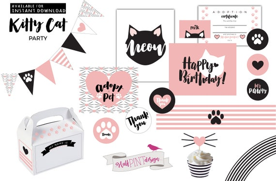 Kitty Cat Birthday Party Decorations Adopt A Girls Kitten Purrfect Pretty You Me