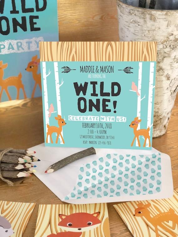 wild one birthday party invitation woodland party invitation first