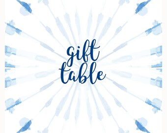 Gift Table Baby Shower Sign, 8x10 Blue Shibori Tie Dye Sign, Indigo tie dye, Boy Baby Shower, Gift sign for baby shower : INSTANT DOWNLOAD
