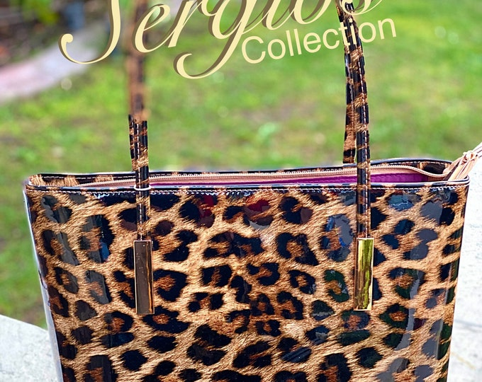 Featured listing image: Handbag Patent leather Cheetah print