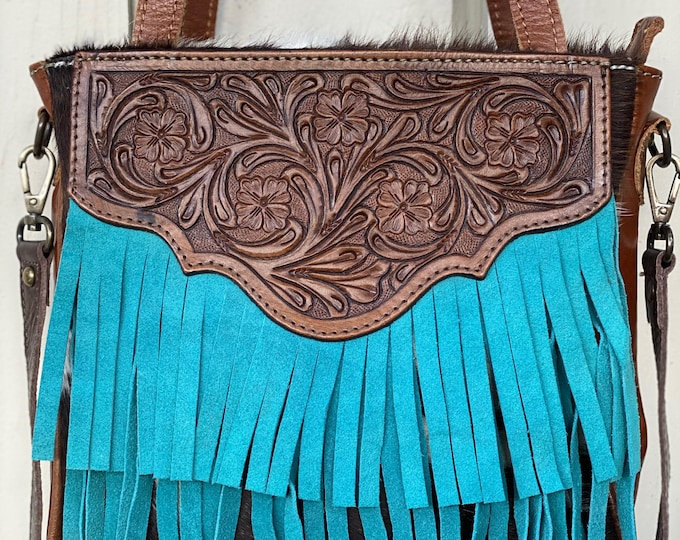 Featured listing image: Cowhide-Fringe-tooled leather tote