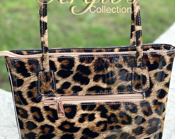 Featured listing image: Handbag, patent leather cheetah print