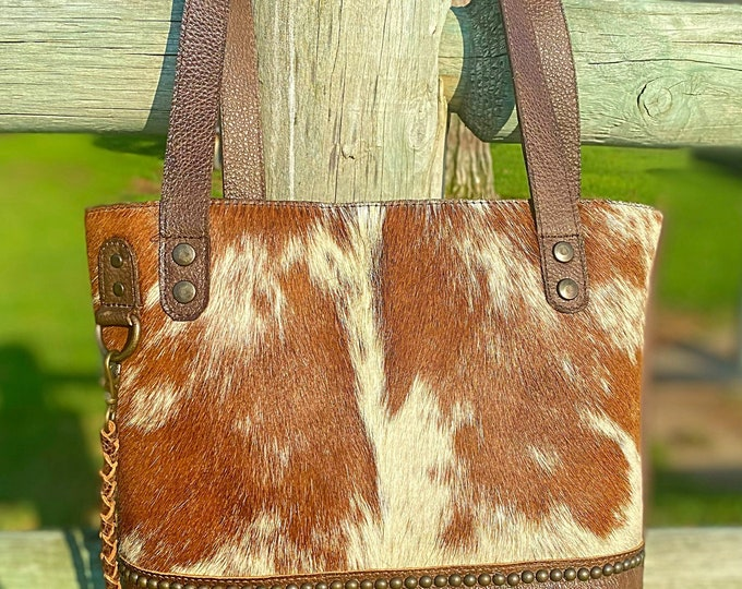 Featured listing image: This small version of our most popular cowhide tote
