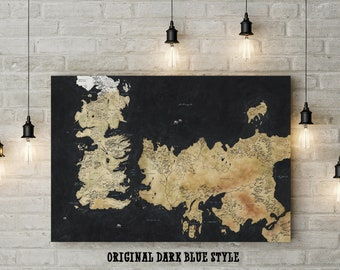Game of Thrones Themed Map, Inspired Map of Westeros and Essos, Fan Art, Custom Raised Canvas Art Piece