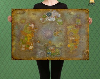WOW Inspired, World of Warcraft, Map of Azeroth Pandaria and Broken Isles, Custom Raised Canvas Art Piece