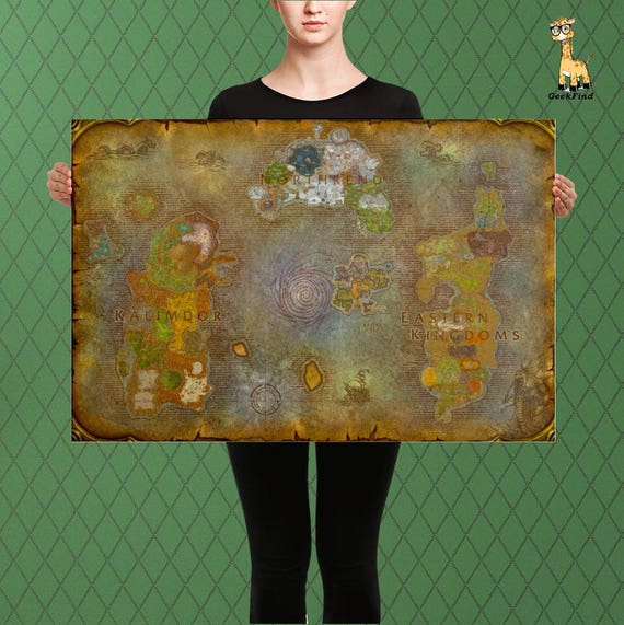 WOW Inspired World of Warcraft Map of Azeroth and Broken   Etsy