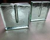 Vintage Glass Bud Vases Blenko Glass Style Vases Modern Green Glass Vases Vintage Weedpots Square Geometric Vases
