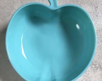 Vintage Hazel Atlas Apple Bowl | Turquoise Milk Glass Fruit Bowl | Turquoise Kitchen Decor | Mid Century Kitchen