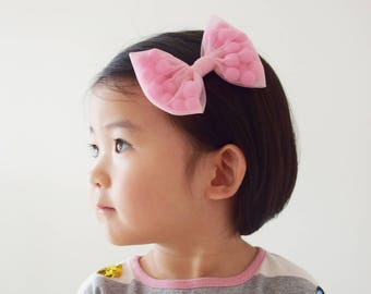 Jumbo Tulle Bow with Pompoms Hair Clip  or Headband